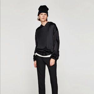 Zara black sateen top with hood